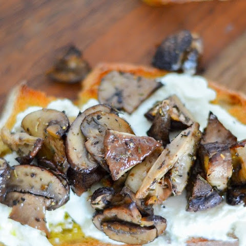 Roasted Mushroom + Burrata Crostini