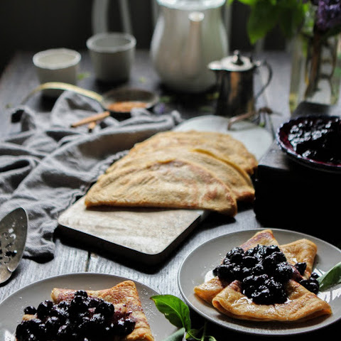Cinnamon Buttermilk Crepes With Maple Roasted Blueberries