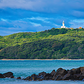 Autumn in Byron Bay by Garry Dosa - Digital Art Places ( lighthouse, ocean, outdoors, rocks, blue, waterscape, impressionistic, action, water, landscape )