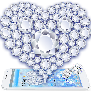 Download Blue Glitter Luxury Diamond Hearts Wallpaper For PC Windows and Mac