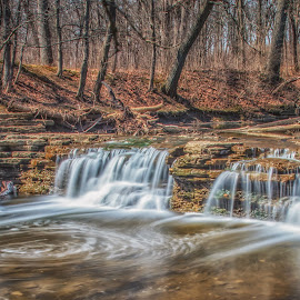 Waterfall Glen by Lynn Kirchhoff - Landscapes Waterscapes ( spring, brook, forest, rocks, waterfall, whirlpool, long exposure, water,  )