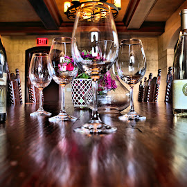 Tasting by Cal Brown - Artistic Objects Still Life ( wine, interior, institute, canandaigua, still life, wine bottle, culinary, new york, artistic objects, wine glasses, room,  )