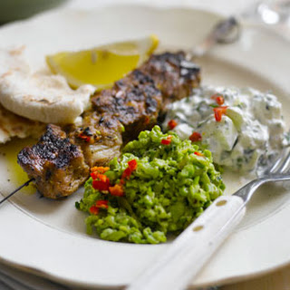 Lamb Skewers With Peas And Tzatziki