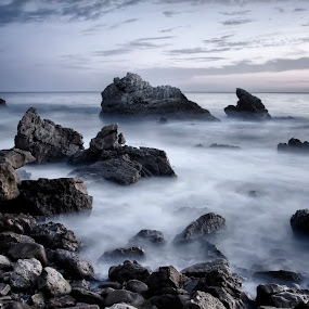 Dark Rocks by John Souza - Landscapes Beaches ( water, hdr, waves, rocky, sea, ocean, rock, seascape, beach, landscape, nature, wave, rocks, natural )