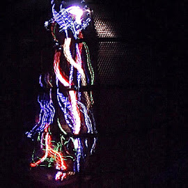 by Rachel Urlich - Abstract Light Painting ( danger, light painting, motor bikes, wire cage )