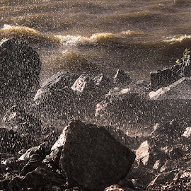 Sea meets beach  by Don Bech - Landscapes Beaches ( sweden, mälaren, waves, lake, stones )