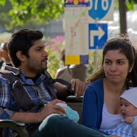 by Judy Florio - People Street & Candids ( resting, park, bench, woman, family, candid, baby, man )