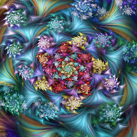 Topaz Spiral by Peggi Wolfe - Illustration Abstract & Patterns ( abstract, wolfepaw, color, bright, topaz, fun, spiral, fractal, digital )