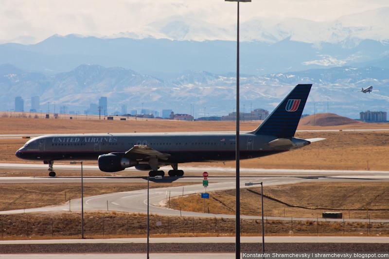 USA Colorado Denver International Airport United Airlines Boeing 757 Old Livery США Колорадо Денвер Международный Аэропорт Юнайтед Эйрлайнз Боинг 757 Старая Ливрея