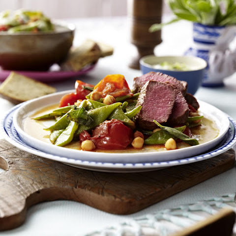 Lamb with Green Beans, Chickpeas and Tzatziki