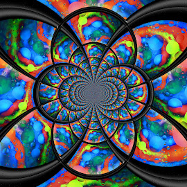 Waterfall Kaleidoscope by Carole Pallier Cazzazsnapz - Abstract Patterns ( water, colourful, frame, kaleidoscope, patterns, abstract art, drops, manipulation, black, shapes, oil )
