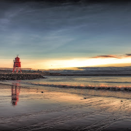 The Groyne Pier At South Shields by Adam Lang - Buildings & Architecture Other Exteriors ( groyne, sky, south shields, reflections, sunrise, beach )