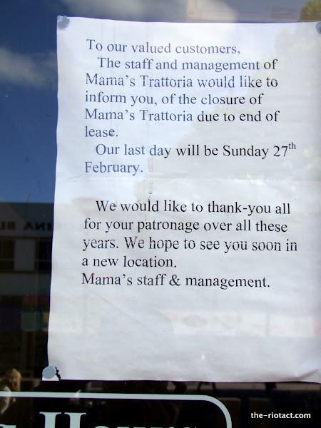 mama's closure notice