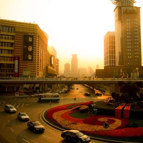 shanghai unset by Ezuwan Razali - City,  Street & Park  Street Scenes