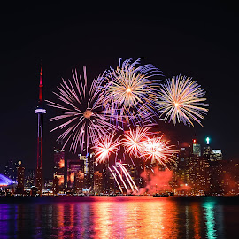 Toronto Fireworks  by Olivier Lp - City,  Street & Park  Skylines ( skyline, canada, toronto, fireworks, night )