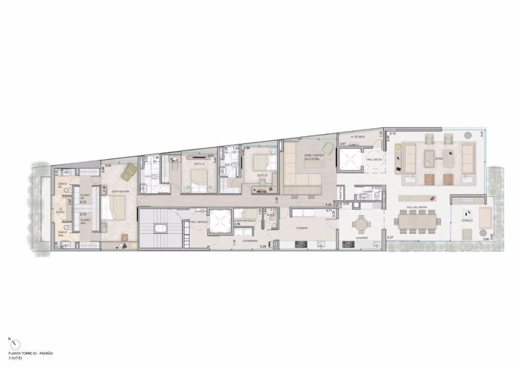 Planta Tipo - 3 Suítes - 315 m²