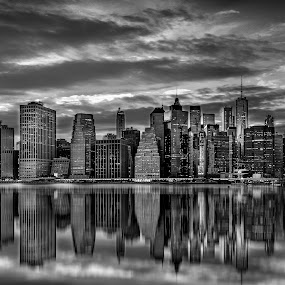 Reflection by Luis Silva - Black & White Buildings & Architecture ( b&w, usa, reflection, manhattan, cityscape, black and white, skyline, new york )
