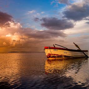 evening pleasure by Enver Karanfil - Transportation Boats ( sky, yellow, boats, clouds, sea )
