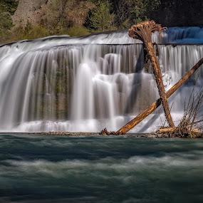 Lower Lewis River Falls Panorama by Scott Wood - Landscapes Waterscapes ( water, washington, waterfalls, lewis, pnw, nature, waterfall, lewis river, scenic, spring, panorama, river,  )