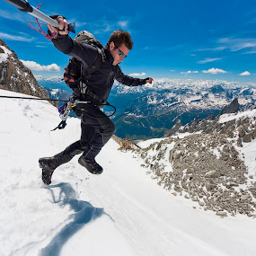 leap of faith by Vincenzo Bernardi - Sports & Fitness Climbing ( guide, climb, person, mountain, freedom, peak, altitude, equipment, travel, landscape, people, moraine, adventure, cold, nature, sunny, ice, snow, mountaineer, mountaineering, alp, man, extreme, achievement, male, trekking, sport, trek, glacier, backpacking, climbing, tourist, frame, environment, mount, mont, freeze, outdoors, active, healthy, blanc, scenery, high, summit, natural, climber, winter,  )