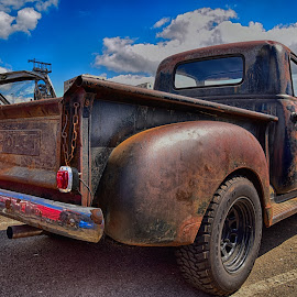Rusty Chevy Pickup by Marco Bertamé - Transportation Automobiles ( car, clouds, pickup, chrome, 2750, number, rusty, luxembourg, 2, number plate, sky, 0, 7, blue, chevrolet, american, 5, grey, bumper )