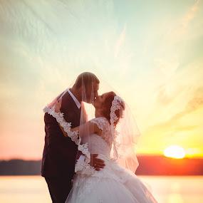 by Vlada Jovic - Wedding Bride & Groom ( love, kiss, kissing, sunset, romantic, bride and groom, bride )