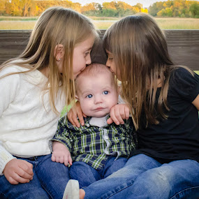 Sibling Kisses by Jess Anderson - Babies & Children Child Portraits ( outdoor, children, baby, kids, siblings )