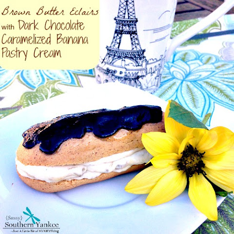 Brown Butter Eclairs with Caramelized Banana Pastry Cream and Dark Chocolate {GF} #Choctoberfest with Imperial Sugar