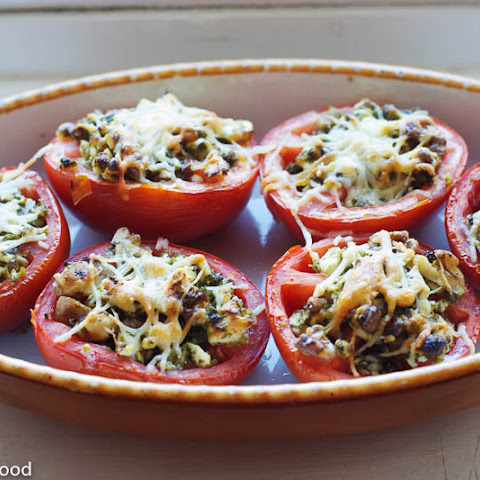 Basil Pesto Stuffed Baked Tomatoes