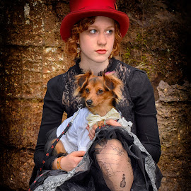 Red Hat And Doggy by Marco Bertamé - Babies & Children Child Portraits