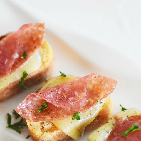 Warm and Crunchy Salami and Dill Harvarti Crostini