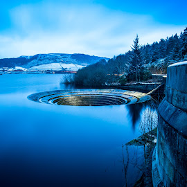 Lady Bower Plug Hole at Night by Michael Payne - Buildings & Architecture Other Exteriors ( water, reservoir, night photography, lady bower, night shot, plug hole,  )