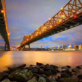 Inbound, Outbound by Ken Smith - Buildings & Architecture Bridges & Suspended Structures ( new orleans, twilight, landscape, bridges )