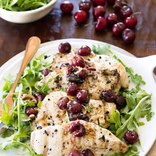 Grilled Chicken with a Warm Cherry Salad