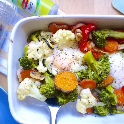 Baked Eggs with Mixed Veggies and Mushrooms (paleo, GF)