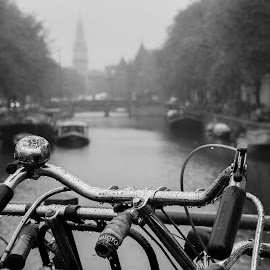 Bycicle and rain by Matteo Caldaroni - City,  Street & Park  Street Scenes ( b&w, bycicle, amsterdam, street photo, rain,  )