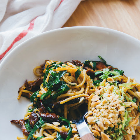 Sweet Shiitake Peanut Noodles with Collard Greens