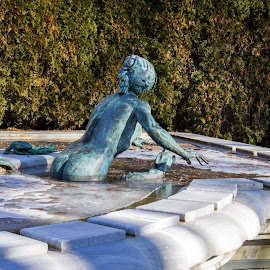 Icy bath by Anatoliy Kosterev - City,  Street & Park  Historic Districts ( water, sculpture, winter, ice, fountain )