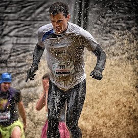 by Marco Bertamé - Sports & Fitness Other Sports ( splatter, splash, strong, brown, number, 1338, strangmanrun, running, man )