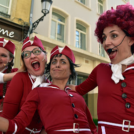 Crazy Ladies by Marco Bertamé - People Musicians & Entertainers ( the cicadas, ladies, italian, hostress, red, crazy, woman, cap, funny, four, italy )