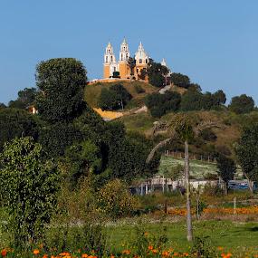 Church by Cristobal Garciaferro Rubio - Buildings & Architecture Places of Worship ( cholula, church, mexico, pyramid, puebla, flowers )