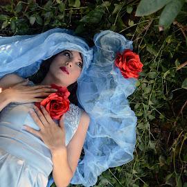 Princess by Simone Sheridyn - People Fashion ( model, fashion, girl, blue, elegant, makeup, art, forest, hair, pretty, photography )