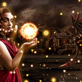 Daughter of Aries by DJ Wysocki - Digital Art People ( horns, god, makeup, art, dragon, goddess, myth, fantasy, aries, girl, female, woman, photo manipulation, digital art, costume, ram woman, hair,  )
