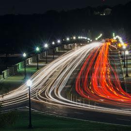 Memorial Bridge 1  by Hugh Clarke - Transportation Roads ( light trail, traffic, layers, lincoln memorial, light trails, long exposure, washington dc, road, fotodc )