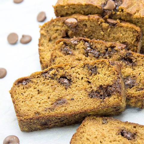 Low Fat Pumpkin Bread with Chocolate and Peanut Butter Chips