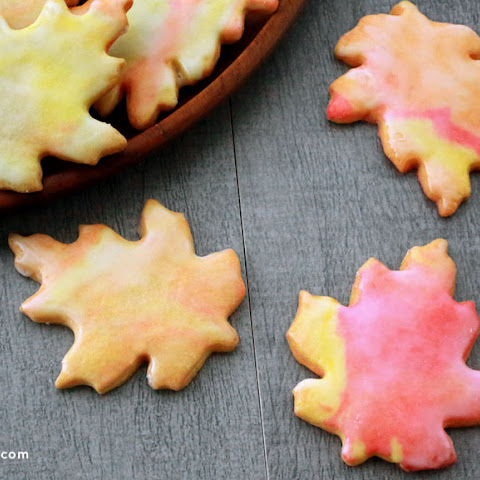 Glazed Leaf-Shaped Sugar Cookies