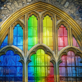 all saints church rainbow windows by Adrian Day - Buildings & Architecture Places of Worship ( god, church, arches, windows, beauty, rainbow, mood factory, color, lighting, moods, colorful, light, bulbs, mood-lites )
