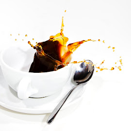 No more coffee by Leen Bilt Van Der - Abstract Water Drops & Splashes ( cup, splash, coffee, white, spoon,  )