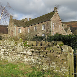 House at Llantony Abbey by Caroline Beaumont - Buildings & Architecture Homes ( old house, llantony priory, stone house, house, stone wall )