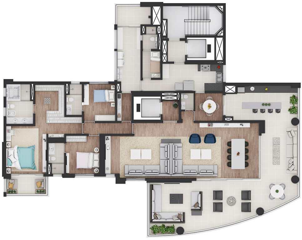 Planta Tipo Opção 2 - 3 Suítes - 325,90 m²